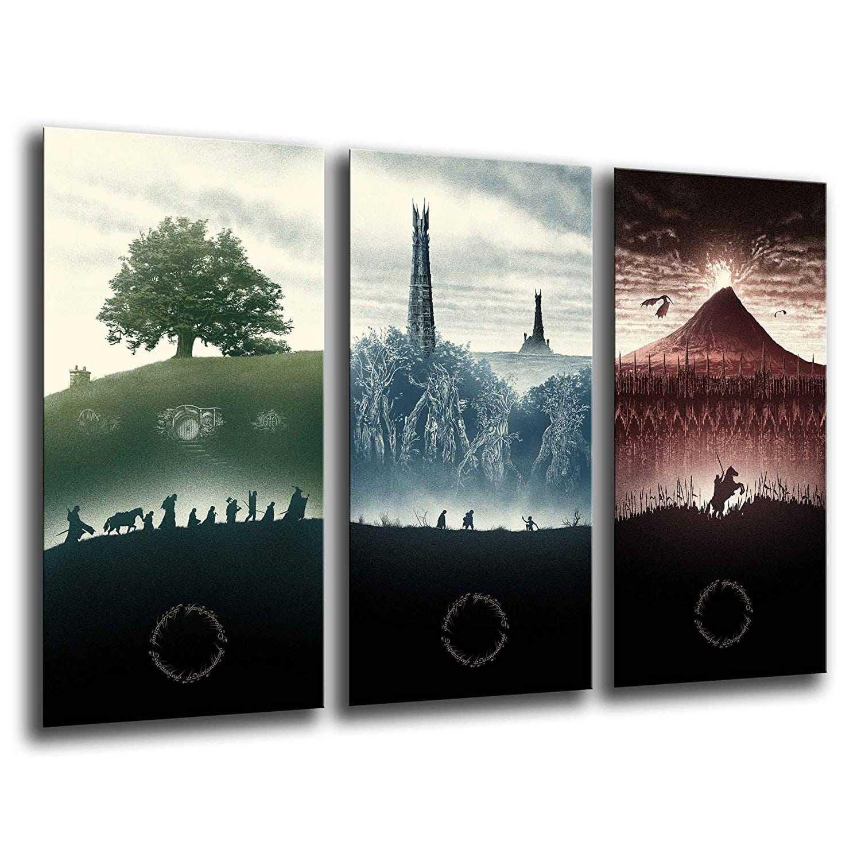 Lienzo 3 piezas trilogía El Señor de los Anillos