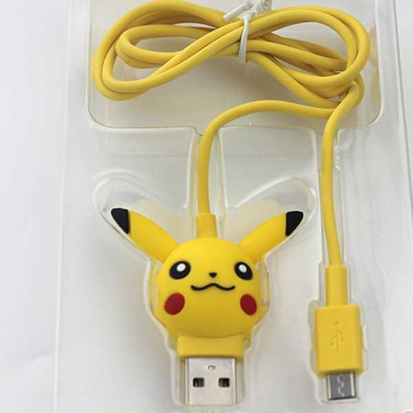 cable carga usb con diseño pikachu