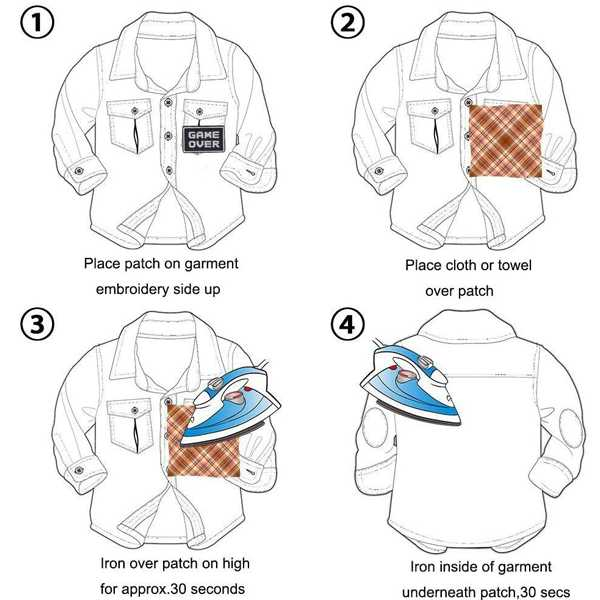 instrucciones para colocar parches ropa