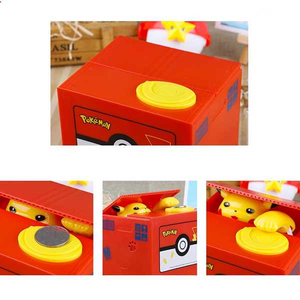 hucha pikachu que recoge moneda automaticamente