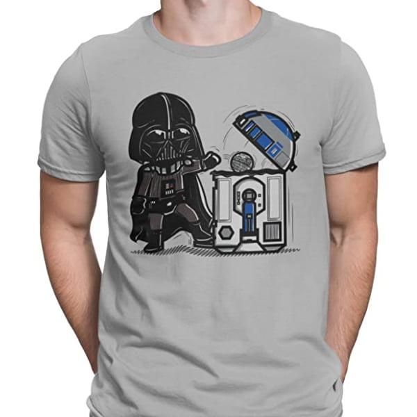 camiseta inspirada en star wars con darth vader y R2-D2