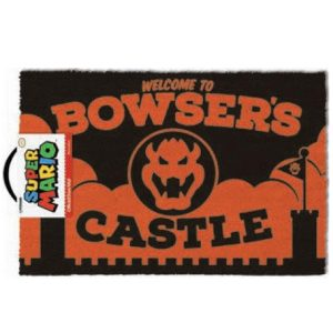 felpudo naranja inspirado en super mario con la inscripcion welcome to bowsers castle