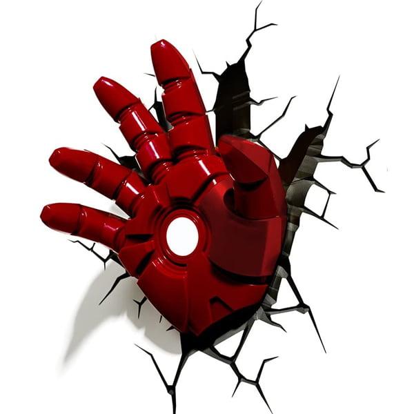 lampara efecto 3d guante iron man