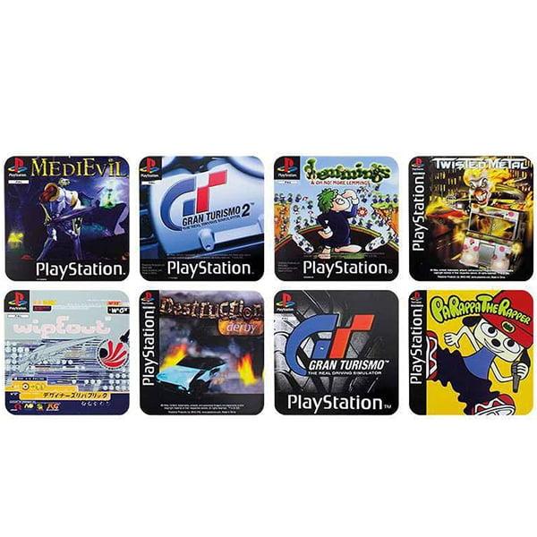 4 posavasos reversibles con portadas de puegos de playstation