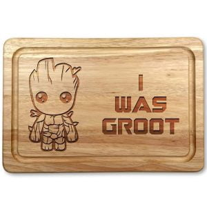 "tabla de cortar con el personaje groot de guardianes de la galaxia y la inscripcion ""I was groot"""